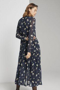 tom tailor denim maxi-jurk »gerueschtes midikleid mit blumenprint« blauw