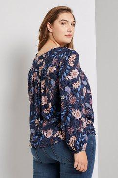 tom tailor my true me blouse met lange mouwen »bluse mit blumenmuster« blauw