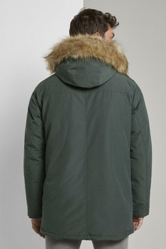 tom tailor winterjack »lange winterjacke mit fellkragen« groen