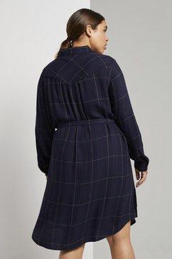 tom tailor my true me jurk met overhemdkraag »kariertes hemdkleid mit bindeguertel« blauw