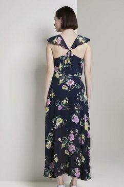 tom tailor denim maxi-jurk »volantkleid in maxi-laenge mit floralem print« blauw