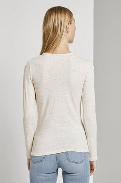 tom tailor denim shirt met lange mouwen »langarmshirt mit aermeldetail« bruin