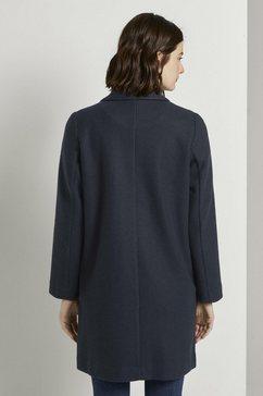 tom tailor denim lange jas »blazer-mantel aus fleece« blauw