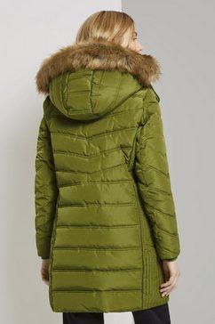 tom tailor winterjack »lange pufferjacke mit fellbesatz« groen