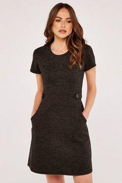 apricot tricotjurk »heavy knit crew neck epaulette dress« zwart