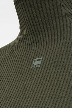 g-star raw shirt met lange mouwen »rib mock slim top« groen