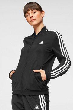 adidas performance trainingspak women essentials 3-stripes tracksuit (set, 2-delig) zwart