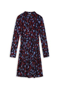 sandwich gedessineerde jurk blauw