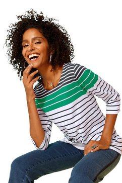 classic basics shirt met wijde, ronde hals blauw