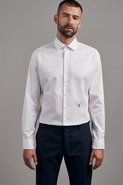 seidensticker businessoverhemd slim slim lange mouwen kentkraag uni wit
