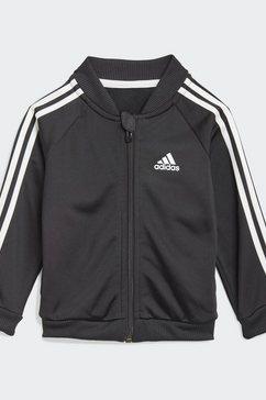 adidas performance joggingpak 3-stripes tricot trainingsanzug (set, 2-delig) zwart