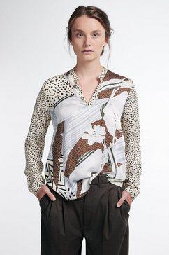 eterna blouse met lange mouwen modern classic staande kraag bruin