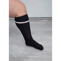 hydas steunkniekousen xl, extra brede voetwijdte (2 paar) zwart