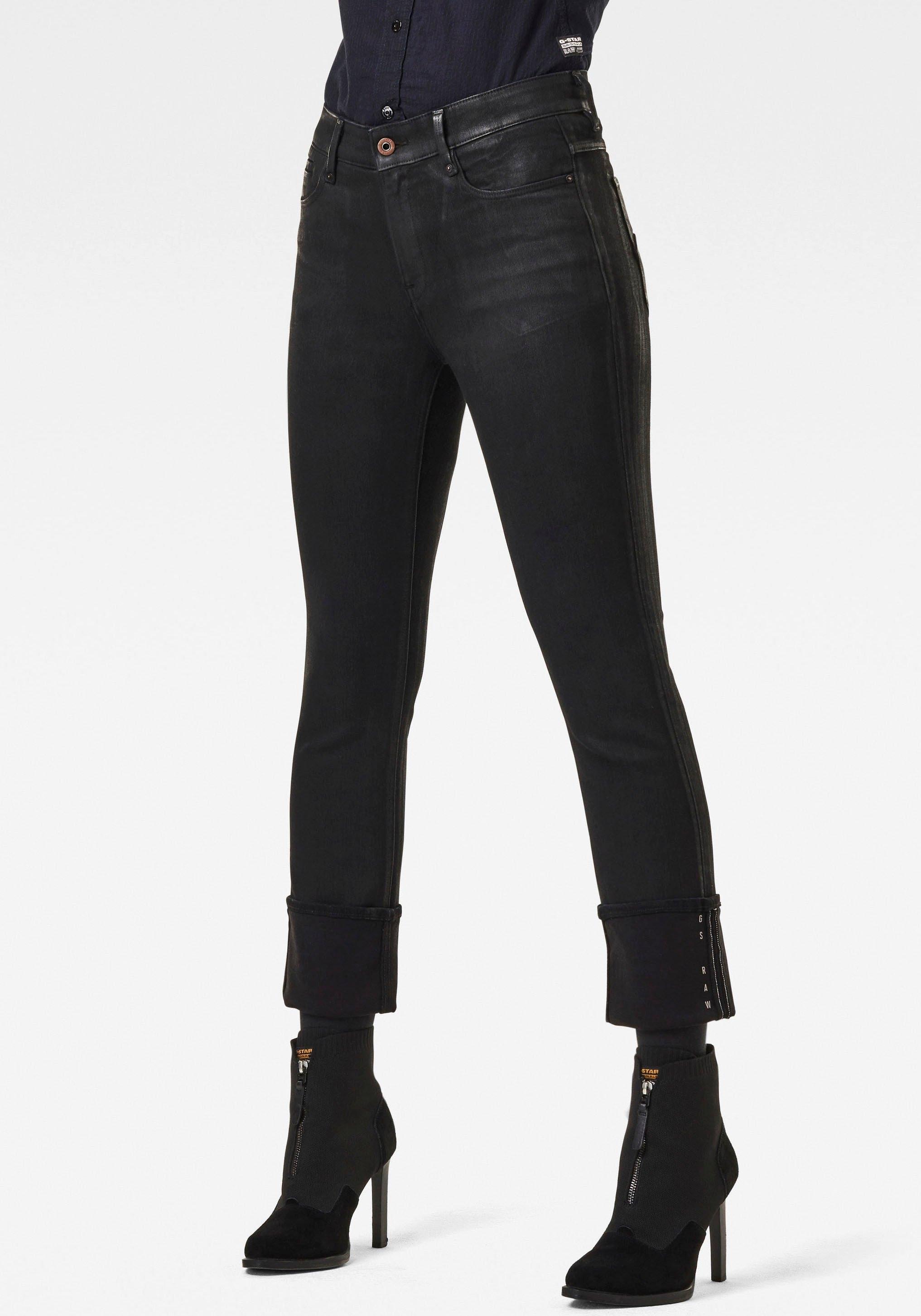 G-Star RAW straight jeans Noxer Navy High Straight Jeans met omslagzoom en logoprint - verschillende betaalmethodes
