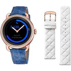 festina smartwatch smartime, f50002-1 (set, 3-delig, met verwisselbare band van wit leer en oplaadbasis) blauw