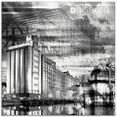artland print op glas duisburg skyline collage iii (1 stuk) multicolor