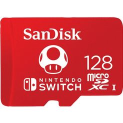 sandisk geheugenkaart microsdxc extreme 128gb (u3-uhs-i-cl.10-r100-w90) fuer nintendo switch (1 stuk) rood