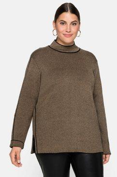 sheego trui met staande kraag beige