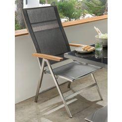 destiny stoel met hoge rugleuning altos edelstaal, inklapbaar, traploos verstelbaar (1 stuk) zwart