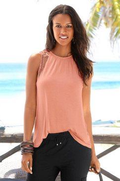 lascana strandtop met kanten inzetten oranje