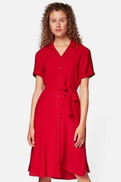 mavi jeans blousejurkje met bindceintuur in de taille rood