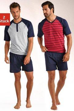 le jogger shortama in een kort model, met raglanmouwen (set van 2) multicolor