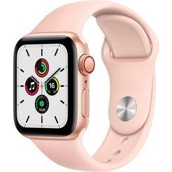 apple watch se gps + cellular, aluminium kast met sportbandje 40 mm inclusief oplaadstation (magnetische oplaadkabel) roze