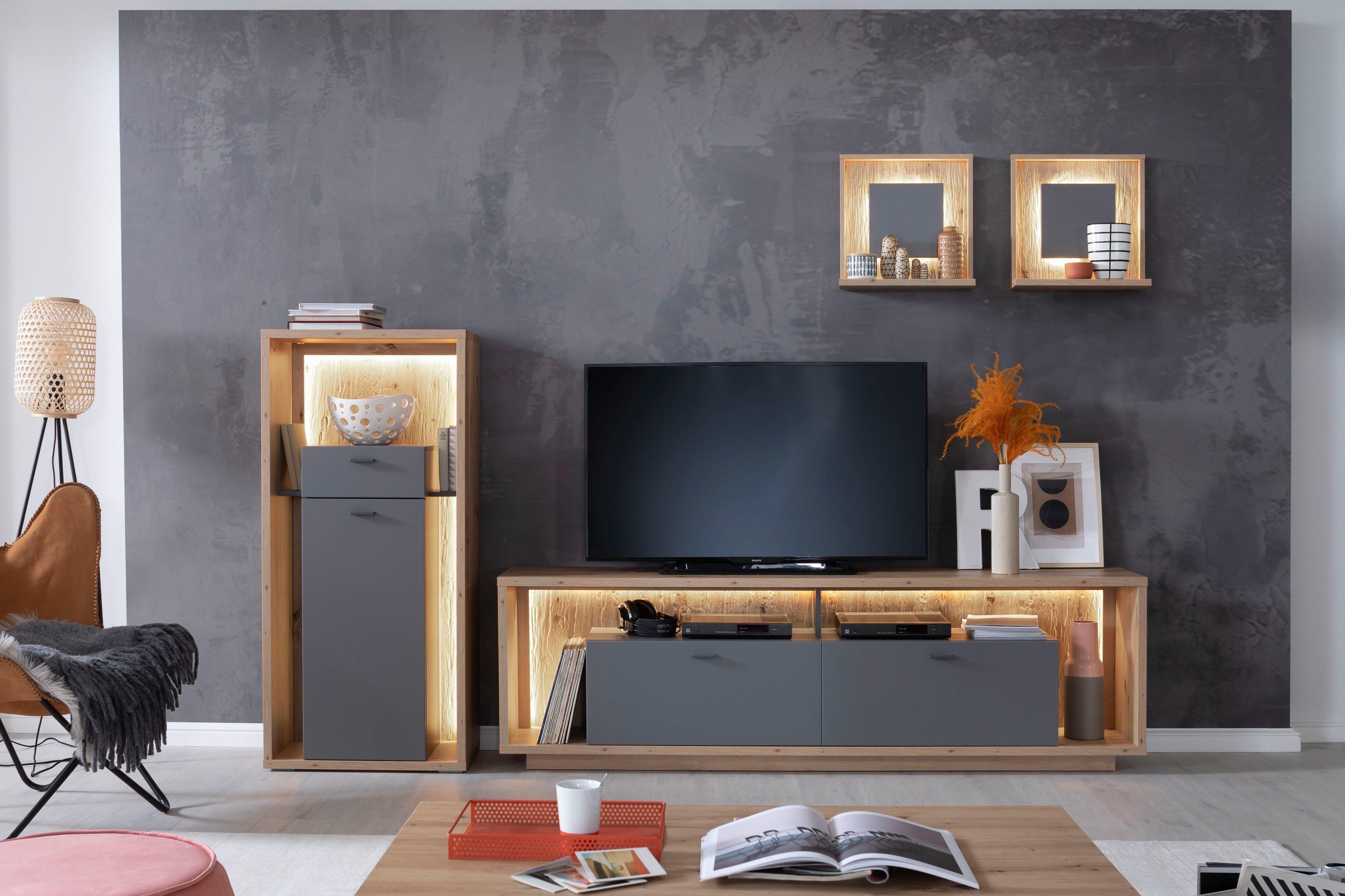 MCA furniture tv-meubel Lizzano moderne landelijke stijl, tv-meubel voor tv tot 80 inch met 3-d achterwand, naar keuze met verlichting voordelig en veilig online kopen