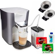 senseo koffiepadautomaat hd6574-20 latte duo, inclusief gratis toebehoren ter waarde van 14,- vap zilver