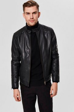 selected homme leren jack »racer leather jkt« zwart