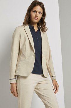 tom tailor blouseblazer »jersey blazer mit ripp-einsaetzen« beige