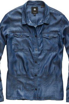 g-star raw jeansblouse »rovic pleated denim shirt« blauw