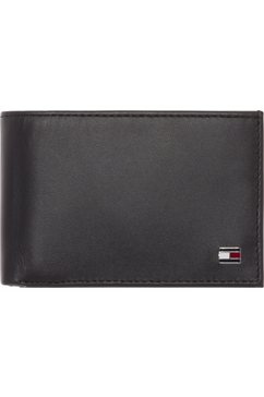 tommy hilfiger portemonnee eton mini cc flap  coin pocket van echt leer zwart