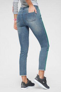 kangaroos skinny fit jeans met coole contrastkleurige strepen opzij blauw