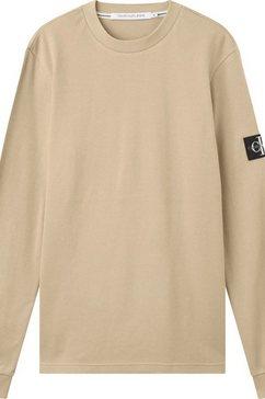 calvin klein shirt met lange mouwen monogram badge waffle ls tee beige