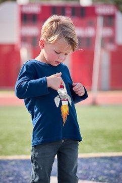 kidsworld shirt met lange mouwen raket van omkeerbare pailletten blauw