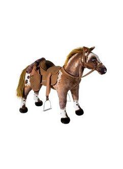 heunec pluchen dier met geluid staand cowboy-paard bruin