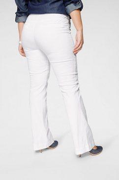 arizona wijd uitlopende jeans flare - voor met logoknopen high waist wit