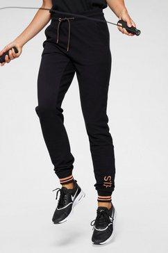 h.i.s joggingbroek met gemetalliseerd glanzende details zwart