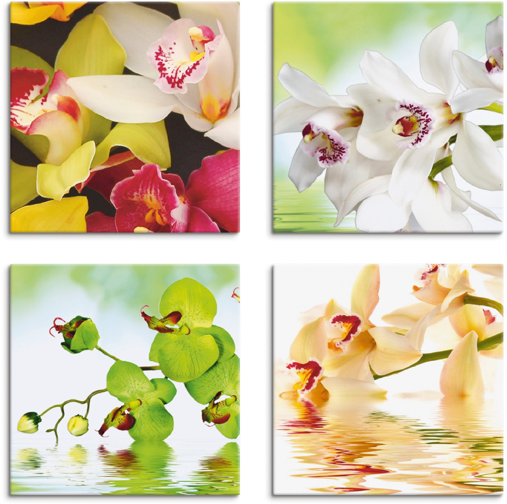 Artland artprint op linnen Orchideeën bloemen (4 stuks) in de webshop van OTTO kopen