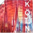 artland artprint keulen skyline collage ii in vele afmetingen  productsoorten -artprint op linnen, poster, muursticker - wandfolie ook geschikt voor de badkamer (1 stuk) rood