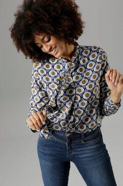 aniston selected blouse met kraagstrik met grafisch motief - nieuwe collectie blauw