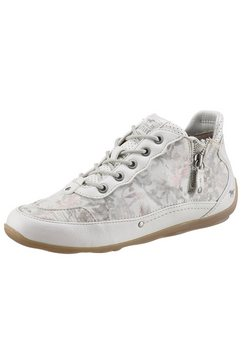 mustang shoes hoge veterschoenen met fijne bloemenprint wit