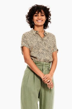 garcia blouse met korte mouwen c10232 - 60-black met all-over luipaardprint bruin