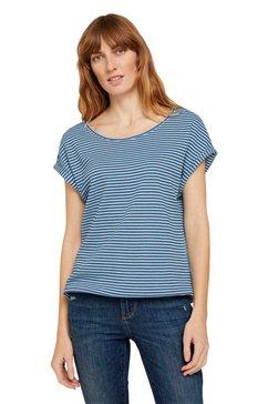 tom tailor t-shirt met modieuze motief-structuur blauw