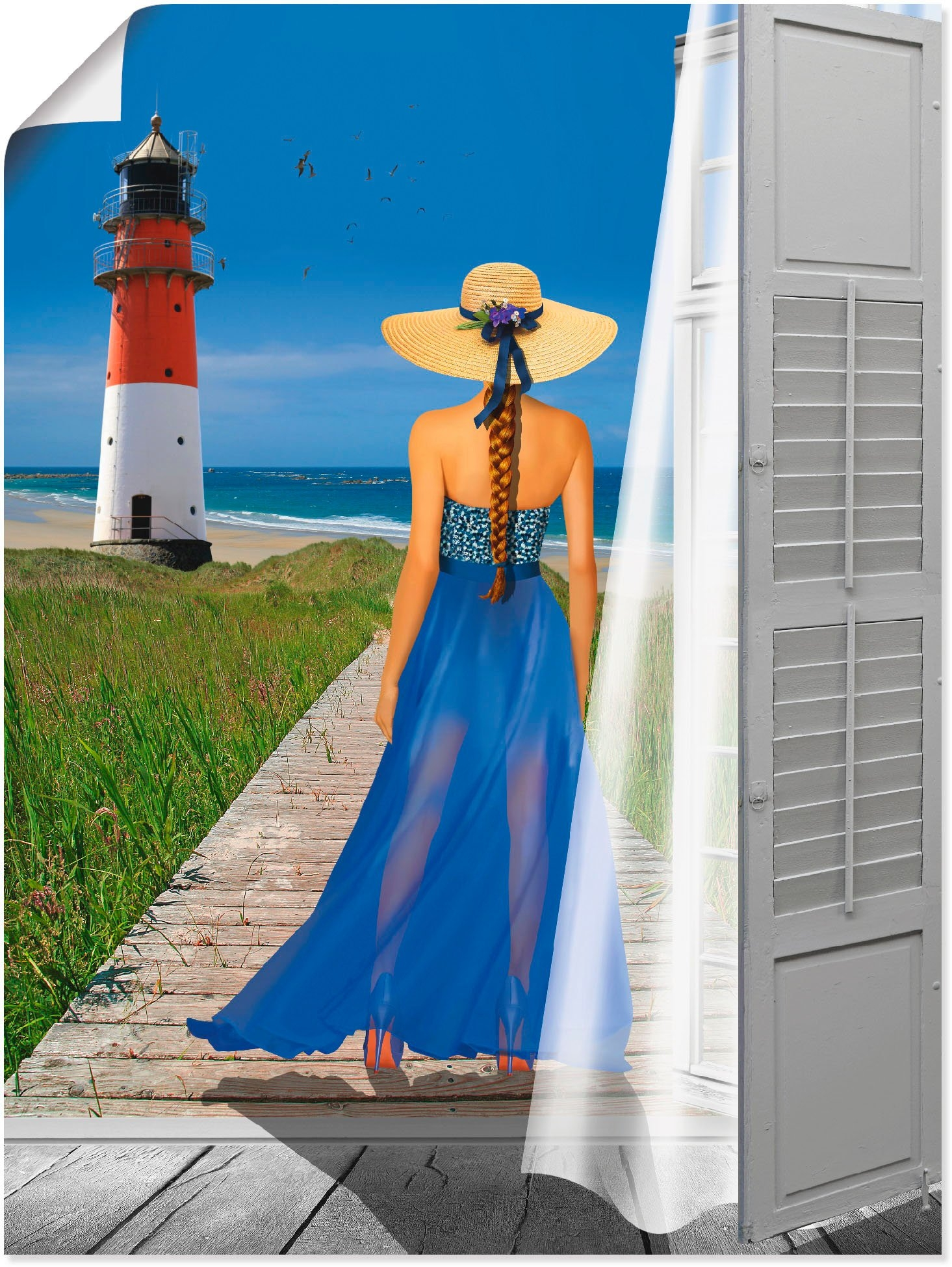 Artland artprint Vakantie aan de zee in vele afmetingen & productsoorten - artprint van aluminium / artprint voor buiten, artprint op linnen, poster, muursticker / wandfolie ook geschikt voor de badkamer (1 stuk) - verschillende betaalmethodes
