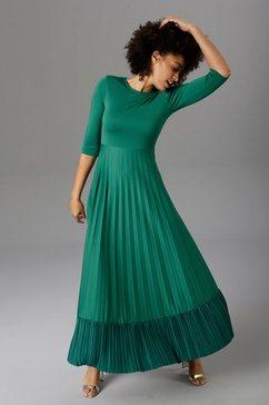 aniston casual maxi-jurk rok met volant van plissé groen