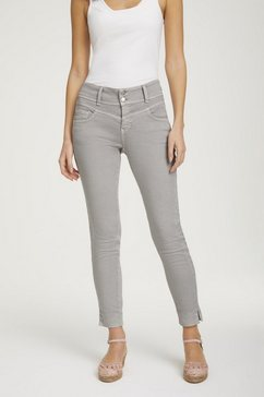 linea tesini by heine slim fit jeans met brede tailleband grijs
