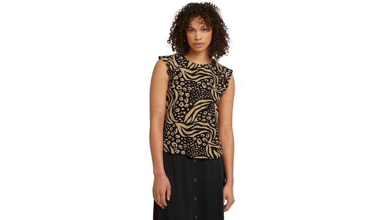 Tom Tailor Denim blouse met korte mouwen met kapmouwtjes