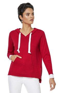 creation l trui met brede contrastband in de capuchon rood